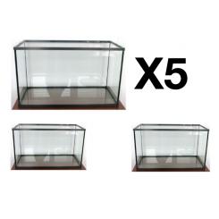 Lot de 5 cuves d'aquarium 96 litres avec cornière