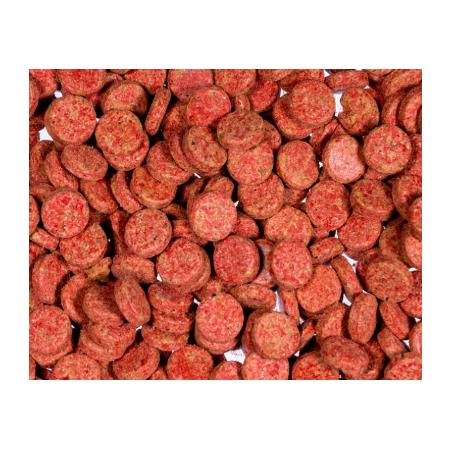 Nourriture pour poisson en tablette rouge